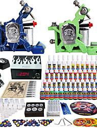 Solong tatuaje kit de 2 máquinas de tatuaje completo pro 54 tintas de alimentación agujas del pedal del pie apretones consejos tk244