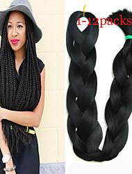 1-12packs colore nero intrecciare i capelli a temperatura elevata intrecciare i capelli 100g / pcs estensioni dei capelli intrecciare