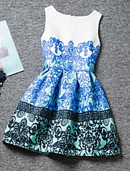 Girl's Blue Dress,Floral Polyester Summer / Spring