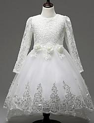 A-line Knee-length Flower Girl Dress - Lace / Tulle Long Sleeve