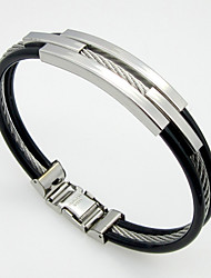 Cable Lines Triple Layer Stainless Steel Leather Bracelets 1pc