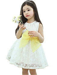 Girl's White / Yellow Dress,Jacquard Polyester Summer