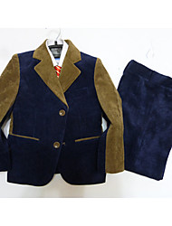 Dark Navy / Silver Polester/Cotton Blend Ring Bearer Suit - 3 Pieces Includes  Jacket / Vest / Pants