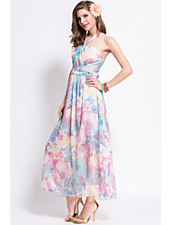 Women's Sexy / Holiday Floral Sheath / Swing Dress , Halter Maxi Polyester