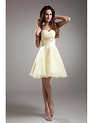 Lanting Bride® Knee-length Taffeta Bridesmaid Dress - A-line Strapless with Beading