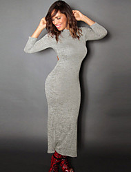 Women's  Sexy Quarter Sleeve and Back Cutout Casual Grey Dress