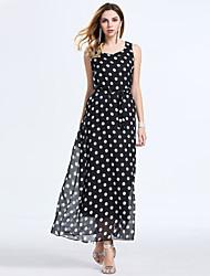 Women's Fashion Casual / Beach / Holiday Polka Dot Chiffon Maxi Dress