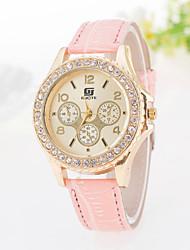 Женские Модные часы Кварцевый Повседневные часы PU Группа Блестящие Черный Белый Синий Красный Оранжевый Розовый Фиолетовый марка