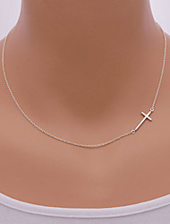 Necklace Pendant Sideways cross Necklaces Jewelry Daily / Casual Fashionable Alloy Gold / Silver 1pc Gift