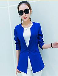Mulheres Blazer Casual Moda de Rua Primavera,Sólido Azul / Vermelho / Preto / Marrom Algodão Decote Redondo Manga Longa Média
