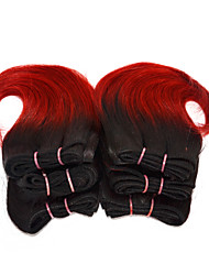 buenas 6pcs baratas / set ombre pelo corto armadura húmeda ombre 2 tono de color # 1b / 150g de 8 pulgadas ondulado de color rojo humana