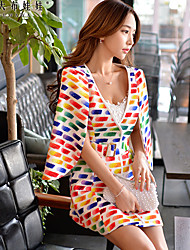 Women's Geometric Multi-color Trench Coat,Vintage Polyester / Spandex