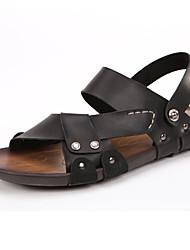 Chaussures Hommes-Décontracté-Noir / Marron-Cuir-Sandales