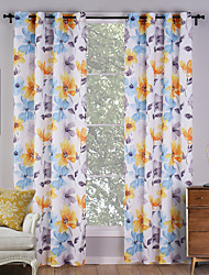 Two Panels Country Floral / Botanical Multi-color Living Room Polyester Panel Curtains Drapes 140cm Per Panel