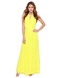 Women's Sexy Solid Chiffon Dress,Halter Maxi Others