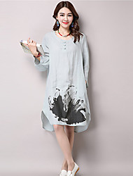 Women's Vintage Print Loose Dress,Round Neck Knee-length Cotton
