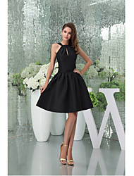 Cocktail Party Dress-Black A-line Halter Knee-length Taffeta