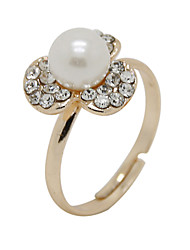 The New Version Of The Small Fresh Clover Zircon Pearl Opening Ring