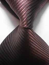 New Striped Brown JACQUARD WOVEN Men's Tie Necktie TIE2047