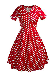 Klassische & Traditionelle Lolita Kurzarm Mittlerer Länge Rot Baumwolle Lolita Kleid