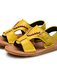 Boy's Sandals Summer Comfort Leather Outdoor Casual Party & Evening Flat Heel Hook & Loop Black White Earth Yellow