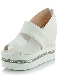 Черный / Розовый / Белый-Женская обувь-Для праздника-Дерматин-На танкетке-На танкетке / С открытым носком-Обувь на каблуках