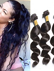 "4Pcs/Lot 200g 8""-26"" Brazilian Virgin Hair Loose Wave Natural Black Human Hair Weaves"