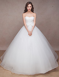 A-line Wedding Dress Sweep / Brush Train Sweetheart Organza with Bow
