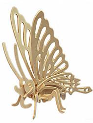 Quebra-cabeças Quebra-Cabeças 3D / Quebra-Cabeças de Madeira Blocos de construção DIY Brinquedos Borboleta Madeira BegeModelo e Blocos de