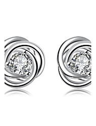 Hot Women Fashion Bijouterie Romantic Cherry Flowers Silver Ear Studs Earrings Lovers Gifts