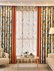 Two Panels  Joint Floral Blackout Printing Curtain