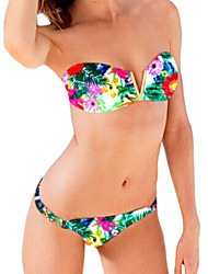 Women's Bandeau Bikinis,Floral Padded Bras Spandex Green