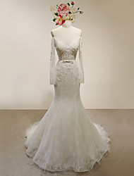 Trumpet/Mermaid Wedding Dress-Ivory Court Train Off-the-shoulder Lace / Satin / Tulle