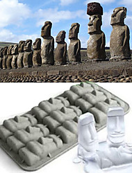Easter Island Moai Ice Mould Silicone Ice Cubes Tray Pudding Jelly Mold (Random Color)