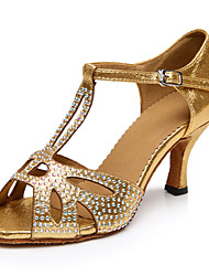Customizable Women's Dance Shoes Latin Satin Stiletto Heel Gold