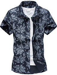 Men's Fashion Casual  Printing Short Sleeved Shirt (Cotton)