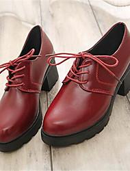 Calçados Femininos-Saltos-Saltos-Salto Grosso-Preto / Vinho-Courino-Casual