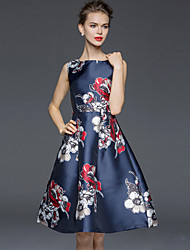 Women's Simple Floral A Line Dress,Round Neck Knee-length Polyester