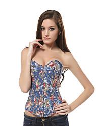 Hot Sale Vintage Floral Corset Denim Up Back Corsets Party Clubwear Top Floral Bustier Corselet