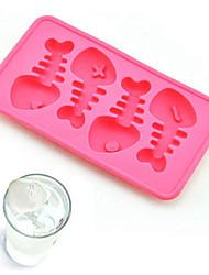 Silicone Fish Bone Shaped Ice Cube Trays Mold Ice Cubes Tray Pudding Jelly Mold (Random Color)