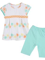 Girl's Blue Clothing Set Cotton Summer / Spring
