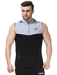 The New men's Sports Tight Sleeveless Vest Thin Section Thin Hooded Jacket Zipper Cardigan Sweater