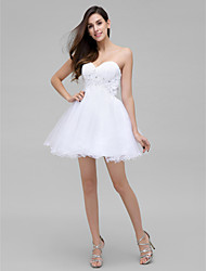 Vestido - branco Festa de Coquetel A-Line Coração Curto/Mini Chiffon