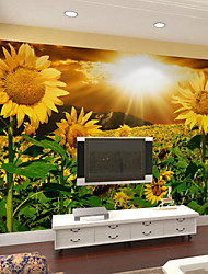 JAMMORY Large Wall Murals 3D Three-dimensional Non-woven Wallpapers Rural Scenery Living Room TV Background Wallpaper Sunflower  XL XXL XXXL