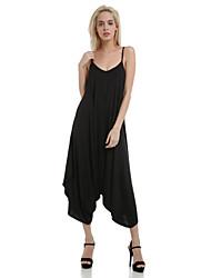 Femme Ample Combinaison-pantalon,Sexy Sortie Couleur Pleine Col en V Sans Manches Eté / Sangle