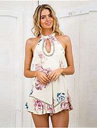 Women's Floral Yellow Jumpsuits,Casual / Day Crew Neck Sleeveless