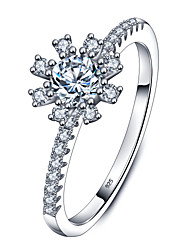 925 Sterling Silver Women Jewelry High Quality Flower Ring with Cubic Zirconia Setting Perfect Gift For Girls