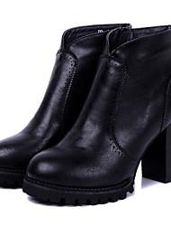 Women's Shoes Chunky Heel Riding Boots Heels Outdoor Black / Burgundy