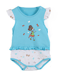 Girl's Blue / Pink Clothing Set,Cartoon Cotton Summer / Spring