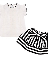 Girl's Clothing Set,Cotton Summer White